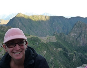 At the sungate at sunrise overlooking Machu Picchu