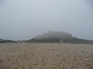The fort peeping through the fog