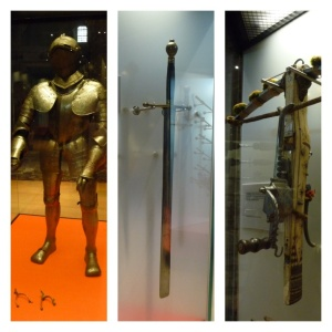 Back at the castle - armour, executioner's sword and crossbow