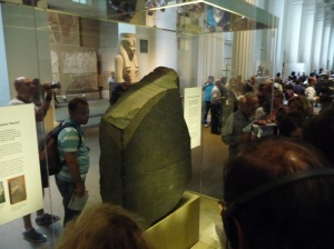 The Rosetta Stone with its three inscribed languages - used to unlock the hieroglyphs of Egypt, 195 BC