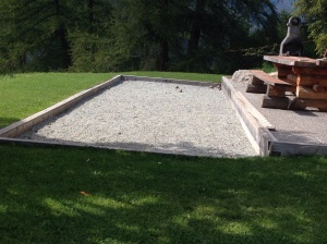 A residential boules court.