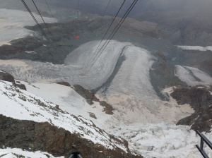 View down to last lift station - just started to snow!