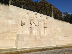 The Reformation Wall - celebrating Farel, Calvin, Beze and Knox.